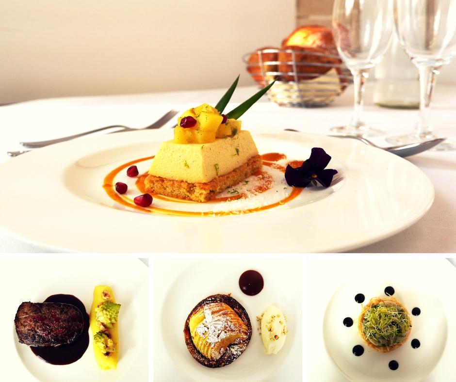 Quatre exemples de plats servis au printemps 2018 à Royaumont.